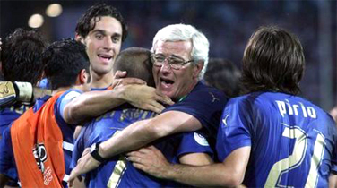 The AIAC coach Marcello Lippi with his players after the Grosso's penalty the Italian national team players run to celebrate... they are the new World Champions and Italy is in the very top of the world, thanks to their football soccer school, Italian football soccer school to the world thanks to WBN and AIAC - the Italian football soccer association of coaches - the Italian football soccer school offers to the international players and teams the World Champions technical and tactical training to the USA soccer teams, Canada soccer players, UAE soccer league, Saudi Arabia teams, Australia teams and soccer players. We offer also customized training for soccer lovers as begineers camps, young soccer camps, girls football soccer training and professional Italian soccer Coaches for your team, our Italian soccer school offers the most prestige and winner Football Soccer coach camps and training in the world ready to coach in your country and become a Champion in your league