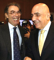 Massimo Moratti president of Inter FC and Adriano Galliani president of AC Milan are two of the main managers of the Italian Calcio Serie A 2010 2011, Moratti has won the Champions League and Galliani is looking forward to win the Italian scudetto