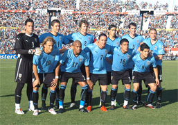 Uruguay plays the Quarterfinals against Ghana in the South Africa world cup 2010, called also knockout stage where the national teams play a standard single elimination game, there are no ties during the match and after 90 minutes if ends draw there are two extra times of 15 minutes and if draw to the penalty kicks to know the winner of the round of 16 and go to the quarter of final